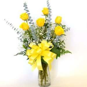 6 yellow roses in vase
