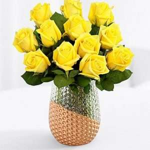 One dozen long stemmed yellow roses