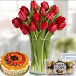 Tulips In a Vase and Chocolates