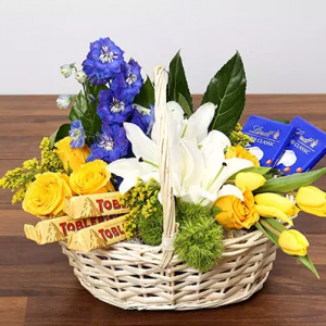 Flowers and Chocolates in a Basket