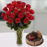 2 Dozen Flowers and Cake