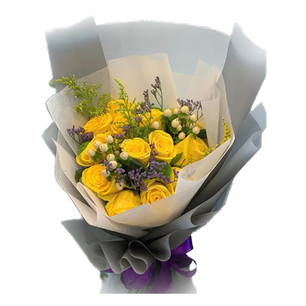 18 Yellow roses bouquet