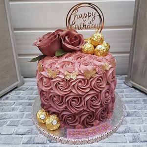 Rosy Birthday Cake