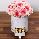 Beautiful rose and baby roses with Ferrero rocher