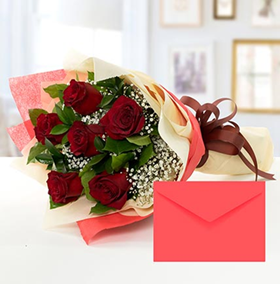 6 Red Roses Bouquet With Greeting Card