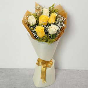 White And Yellow Roses Bouquet