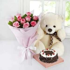 10 Pink Roses with Teddy & Black Forest Cake (Half Kg)