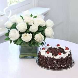 Vase Arrangement 15 White Roses with Black Forest Cake (Half Kg)