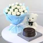 Bouquet of 20 White Roses with Half Kg Chocolate Cake & Teddy