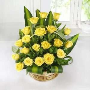 Basket of 20 Yellow Roses