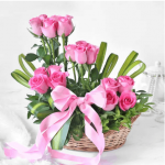 Elegant 18 Blush Pink Roses in Basket