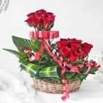 Red Roses in Basket Arrangement