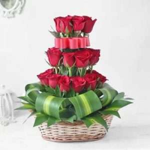 30 Red Roses in Basket