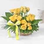 Sunshine Yellow Roses in Basket Arrangement