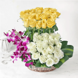 Yellow and White Roses with Orchids in Basket