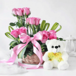 Basket Arrangement of Blush Pink Roses with Teddy