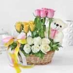 Mixed Roses in Basket Arrangement with Mini Teddy