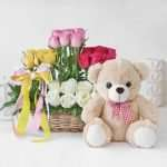 Mixed Roses in Basket Arrangement with Teddy