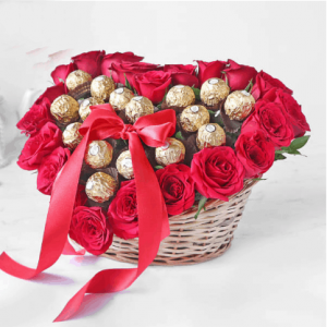 Heart Bouquet of Red Roses & Ferrero Rocher